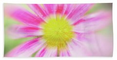 Pink Aster Flower With Raindrops Abstract Bath Towel