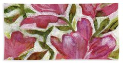 Bath Towel featuring the painting Pink Azaleas by Julie Maas