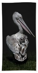Pink-backed Pelican Rear View Hand Towel