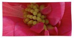 Pink Begonia Stamen - Macro Bath Towel