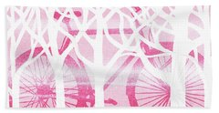 Pink Bicycle White Forest Silhouette Bath Towel