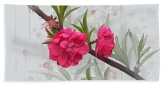 Bath Towel featuring the painting Hot Pink Blossom by Ivana Westin