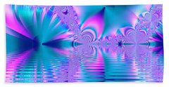 Pink, Blue And Turquoise Fractal Lake Hand Towel