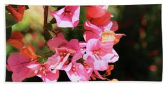 Pink Bougainvillia- Photograph By Linda Woods Bath Towel