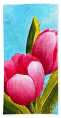 Pink Bubblegum Tulips I Bath Towel