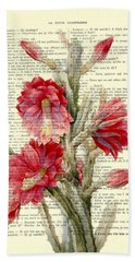 Pink Cactus Flower Vintage Book Page Collage Hand Towel