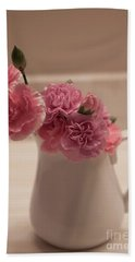Pink Carnations Bath Towel by Sherry Hallemeier