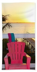 Pink Chair In The Keys Hand Towel