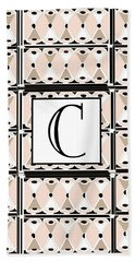 Pink Champagne Deco Monogram  C Hand Towel