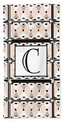 Pink Champagne Deco Monogram  C Bath Towel