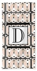 Pink Champagne Deco Monogram  D Hand Towel