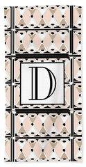 Pink Champagne Deco Monogram  D Bath Towel