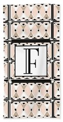 Pink Champagne Deco Monogram  F Hand Towel