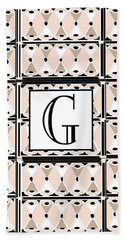 Pink Champagne Deco Monogram  G Hand Towel