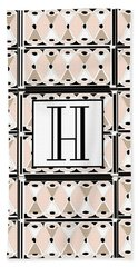 Pink Champagne Deco Monogram  H Hand Towel