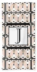 Pink Champagne Deco Monogram  J Hand Towel
