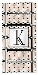 Pink Champagne Deco Monogram  K Hand Towel