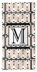 Pink Champagne Deco Monogram  M Hand Towel