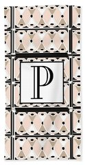 Pink Champagne Deco Monogram  P Hand Towel