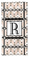 Pink Champagne Deco Monogram  R Hand Towel