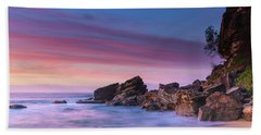 Pink Clouds And Rocky Headland Seascape Hand Towel