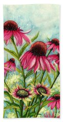 Pink Coneflowers Bath Towel