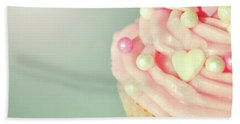 Bath Towel featuring the photograph Pink Cupcake With Lovehearts by Lyn Randle