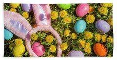 Bath Towel featuring the photograph Pink Easter Bunny Ears by Teri Virbickis