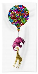 Pink Elephant And Giraffe Hanging From A Butterfly Balloon Hand Towel