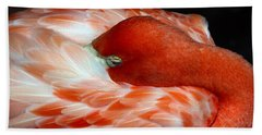 Pink Flamingo Bath Towel by Inspirational Photo Creations Audrey Woods
