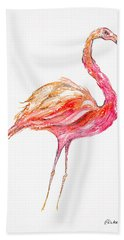 Pink Flamingo Bird Hand Towel