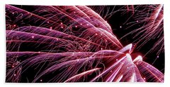 Hand Towel featuring the photograph Pink Flamingo Fireworks #0710 by Barbara Tristan