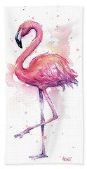 Pink Flamingo Watercolor Tropical Bird Hand Towel