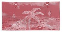 Pink Flamingo's Palms Bath Towel