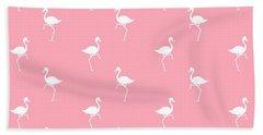 Pink Flamingos Pattern Bath Towel