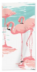 Pink Flamingos Tropical 1980s Abstract Pop Art Nouveau Graphic Art Retro Stylized Florida Print Hand Towel