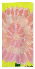 Bath Towel featuring the painting Pink Flower by Artists With Autism Inc