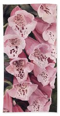 Hand Towel featuring the painting Pink Foxglove by Laurie Rohner