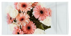 Pink Gerbera Daisy Flowers And White Roses Bouquet Hand Towel