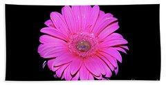 Pink Gerbera On Black Hand Towel by Linda Bianic