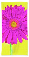 Pink Gerbera On Yellow, Watercolor Bath Towel by Irina Afonskaya