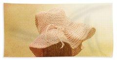 Pink Girls Hat On Farmyard Fence Post Hand Towel
