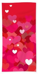 Pink Heart Abstract Bath Towel by Val Arie