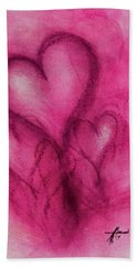 Pink Hearts Hand Towel