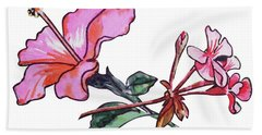 Pink Hibiscus And Geranium  Bath Towel