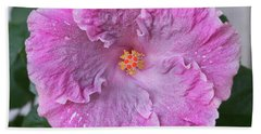 Pink Hibiscus Hand Towel by Loriannah Hespe