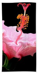 Bath Towel featuring the photograph Pink Hibiscus With Curlicue Effect by Rose Santuci-Sofranko