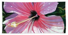 Pink Hibiscus With Raindrops Bath Towel by Marionette Taboniar