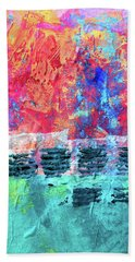 Hand Towel featuring the painting Pink Horizon by Nancy Merkle