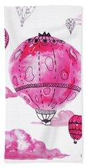 Pink Hot Air Baloons Hand Towel